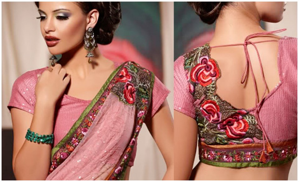 Floral Designer Latest Saree Blouse Back Neck Designs