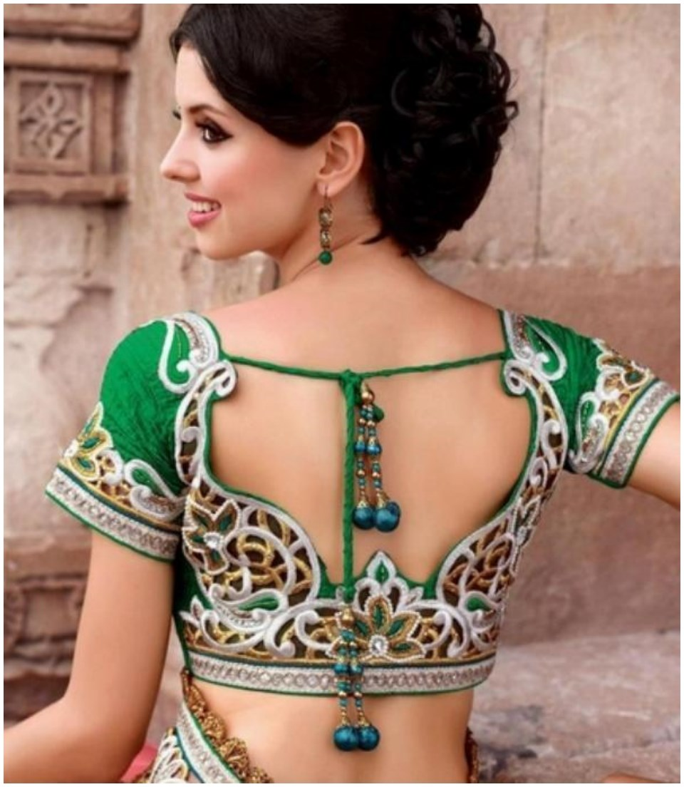 Green saree blouse designs