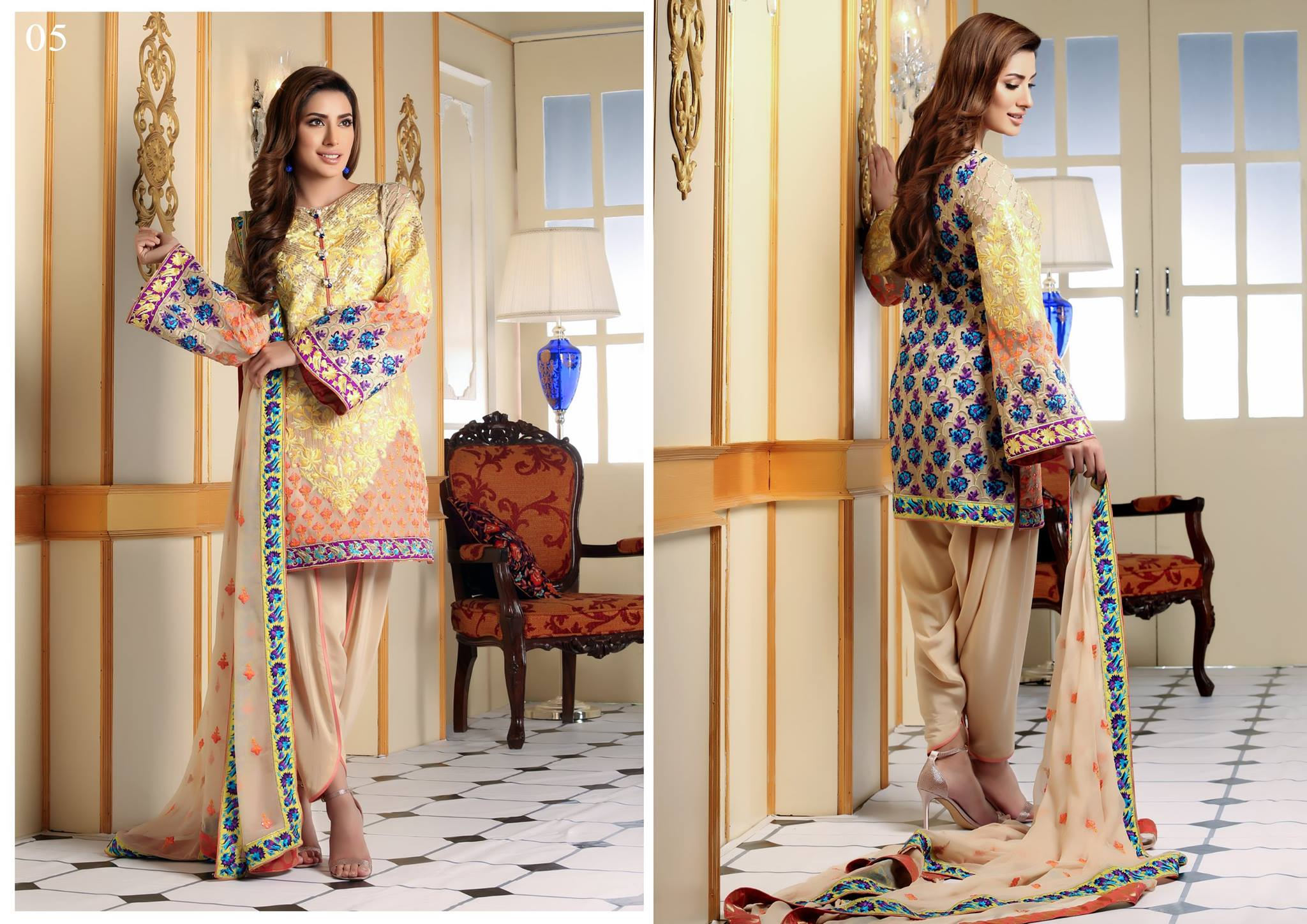 Nomi Ansari Embroidered Chiffon Collection 2016-17 by Shariq Textile