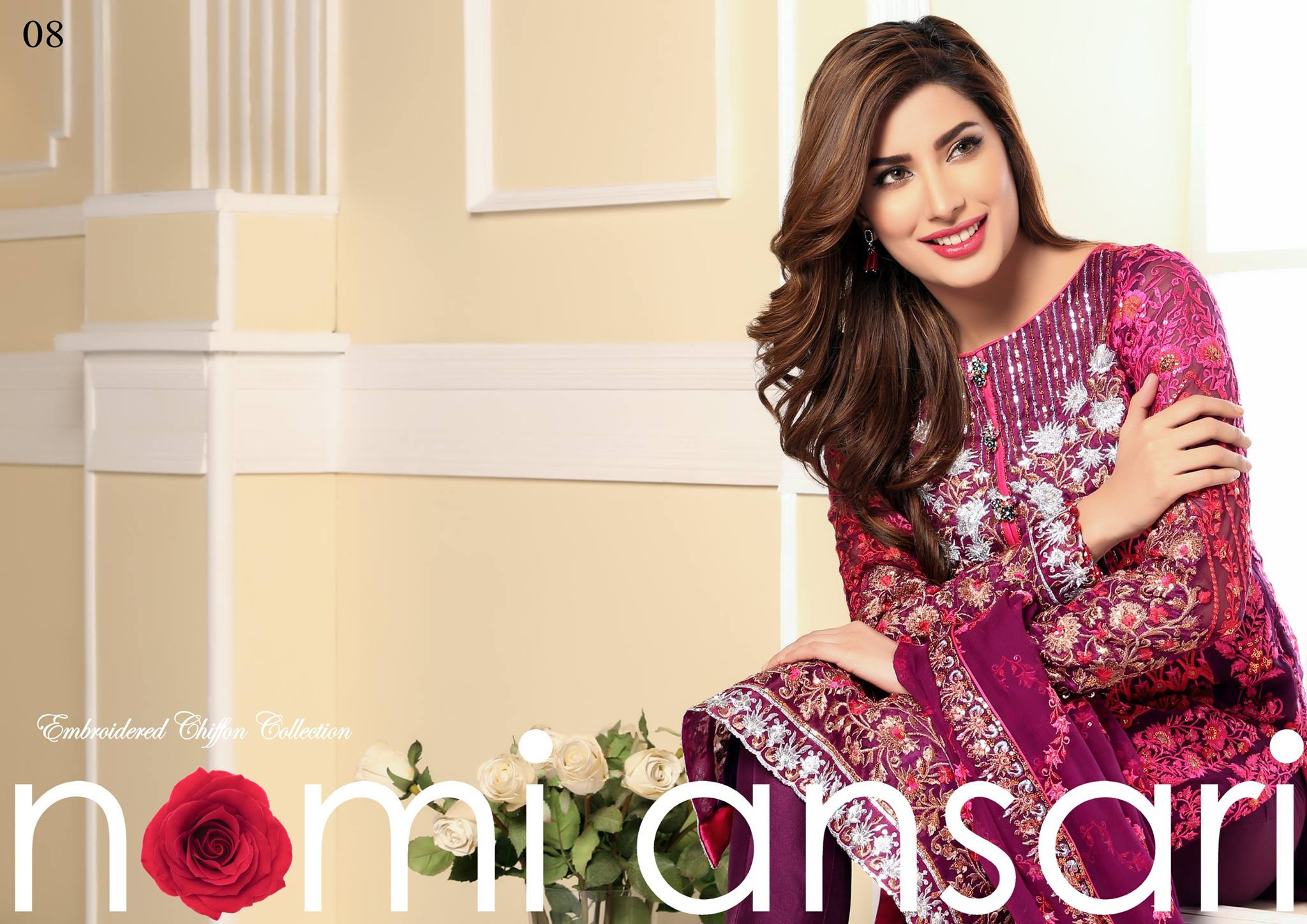 Designer Nomi Ansari Embroidered Chiffon Collection 2016-17