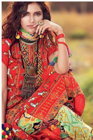 Unstitched Printed & Embroidered Chiffon Suits