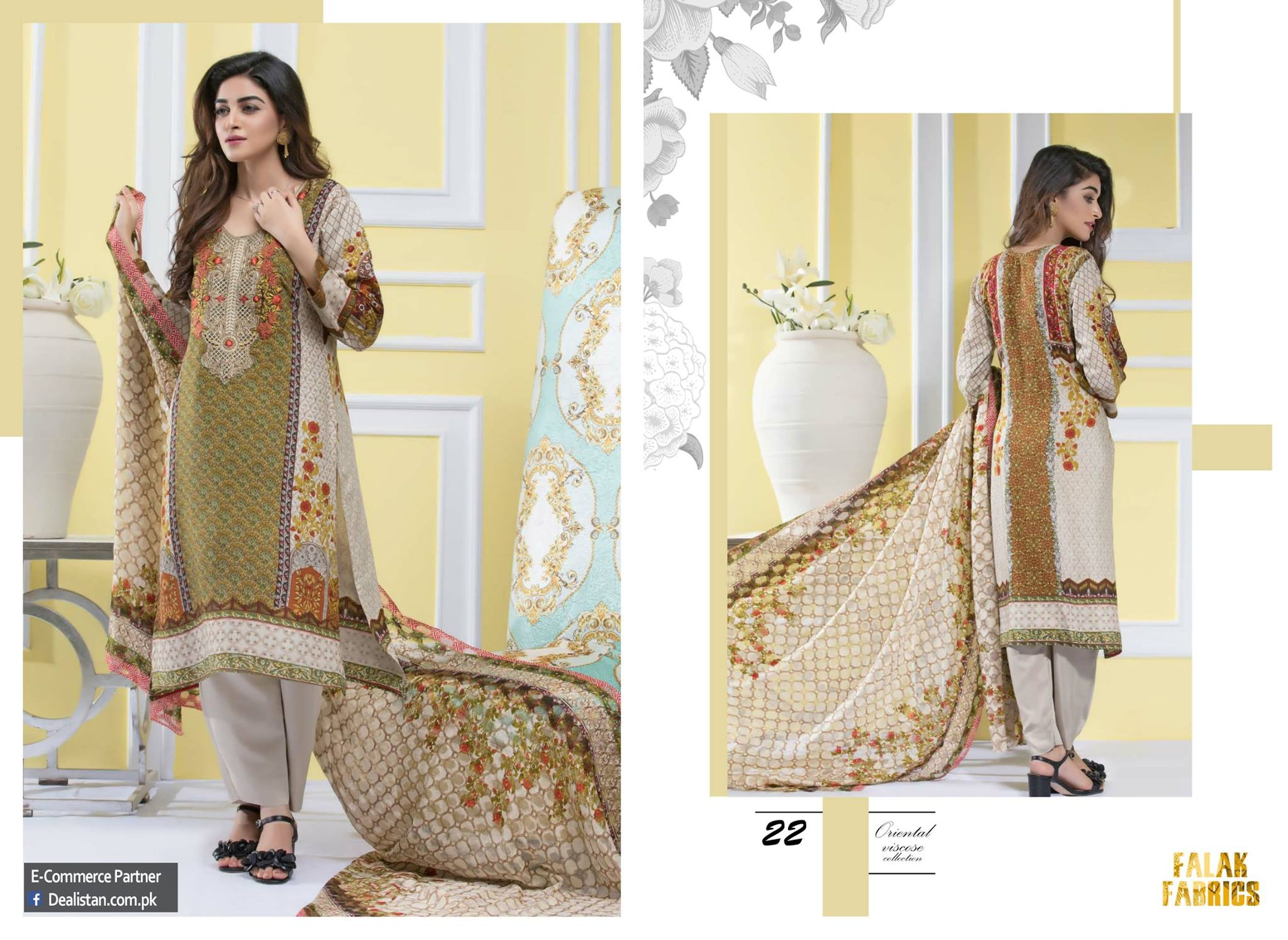 New Falak Fabrics Embroidered Viscos Collection 2017