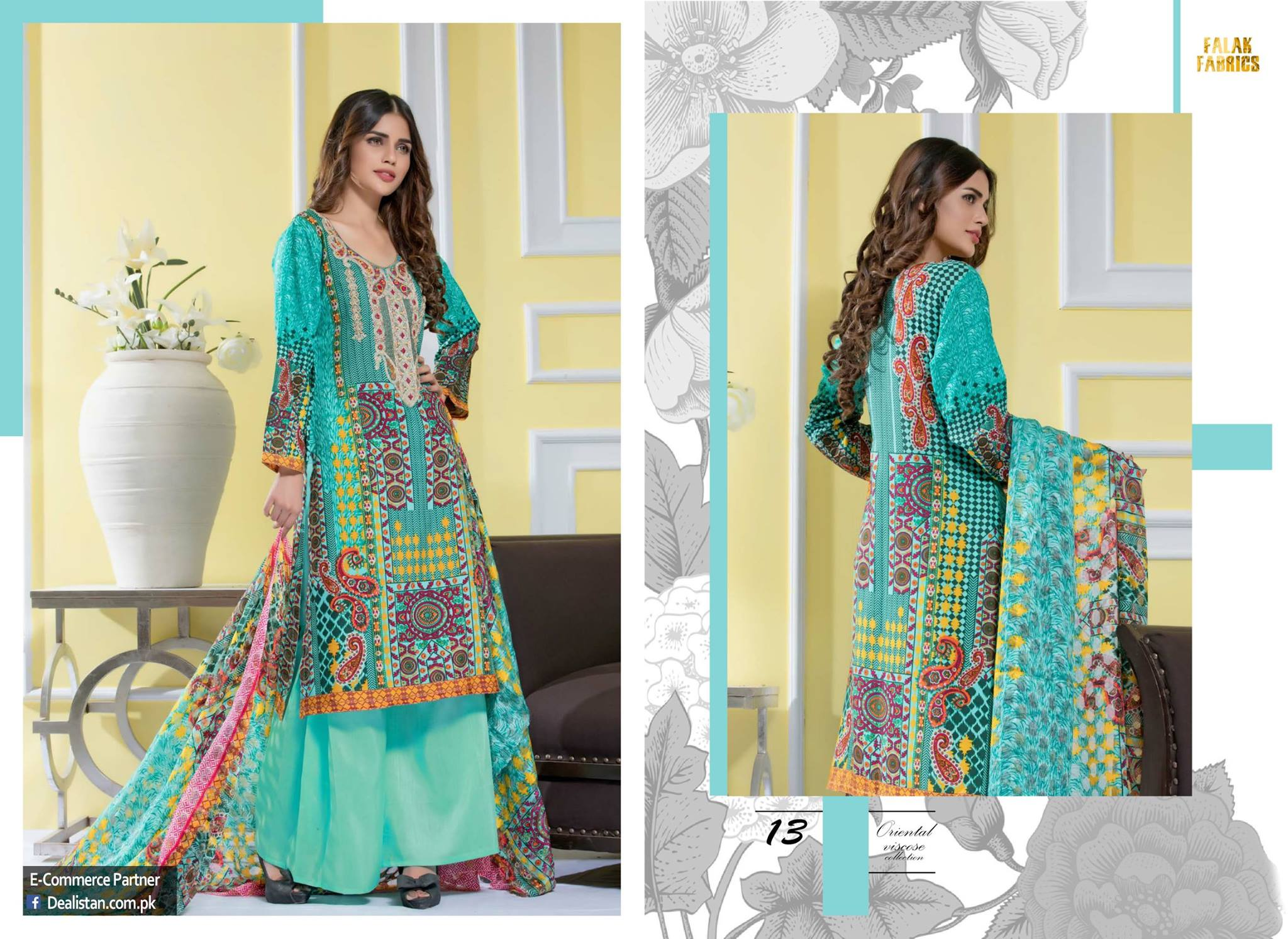 Falak Fabrics Classical embroideries Oreiental Viscos Collection 2017 (1)
