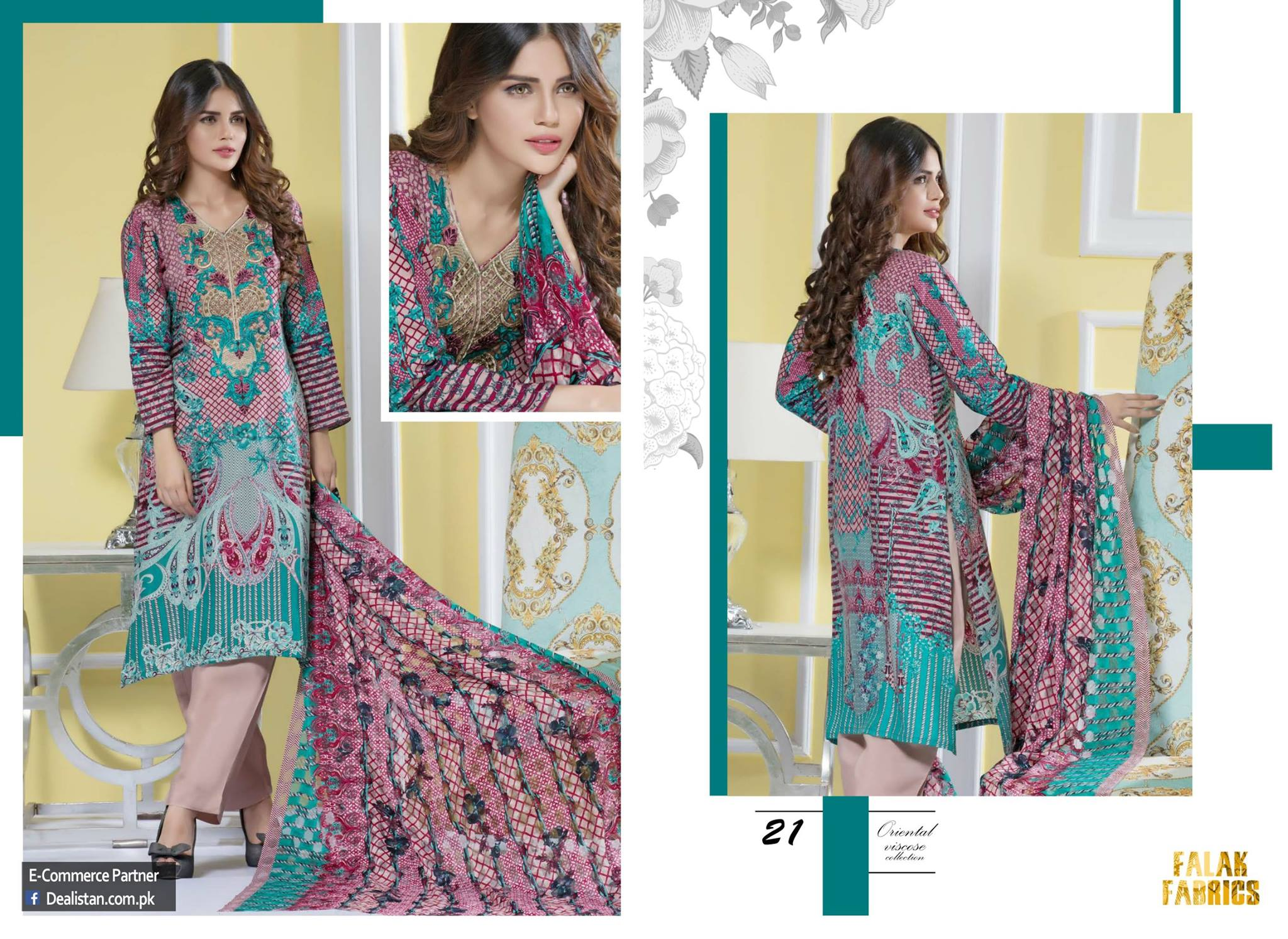 Falak Fabrics Classical embroideries Oreiental Viscos Collection 2017 (3)