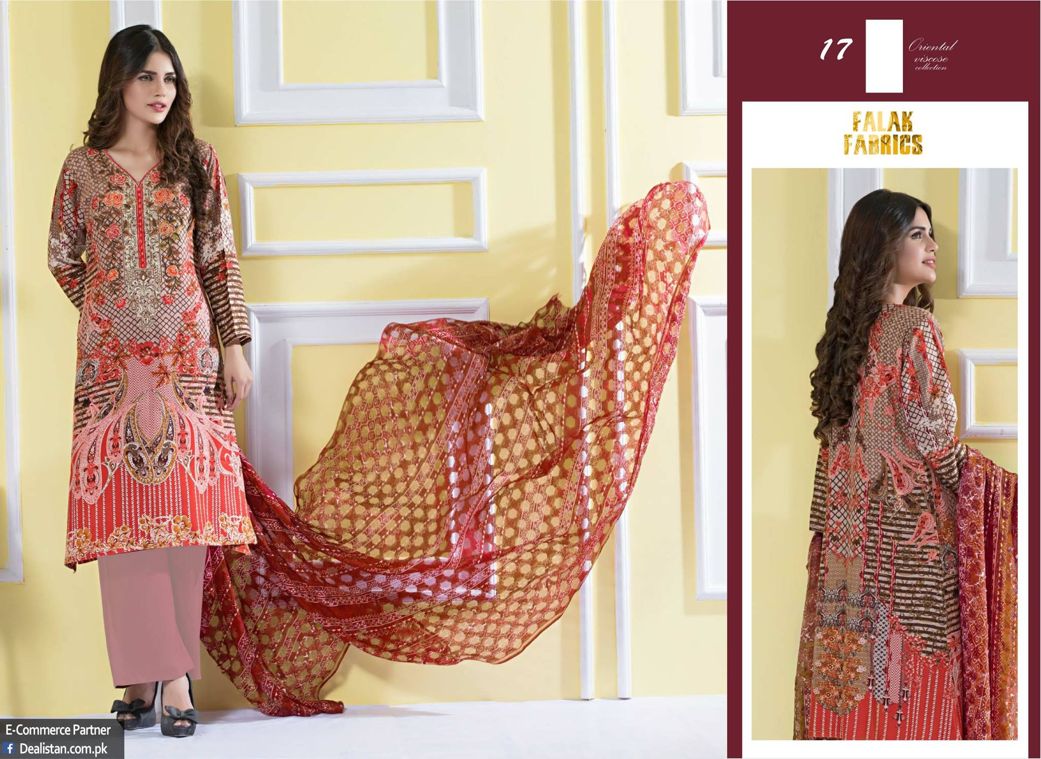 Falak Fabrics Classical embroideries Oreiental Viscos Collection 2017 (8)