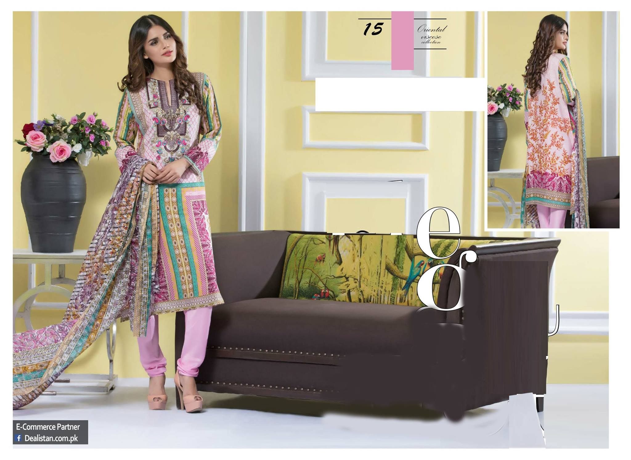 Falak Fabrics Embroidered Viscos Collection 2018