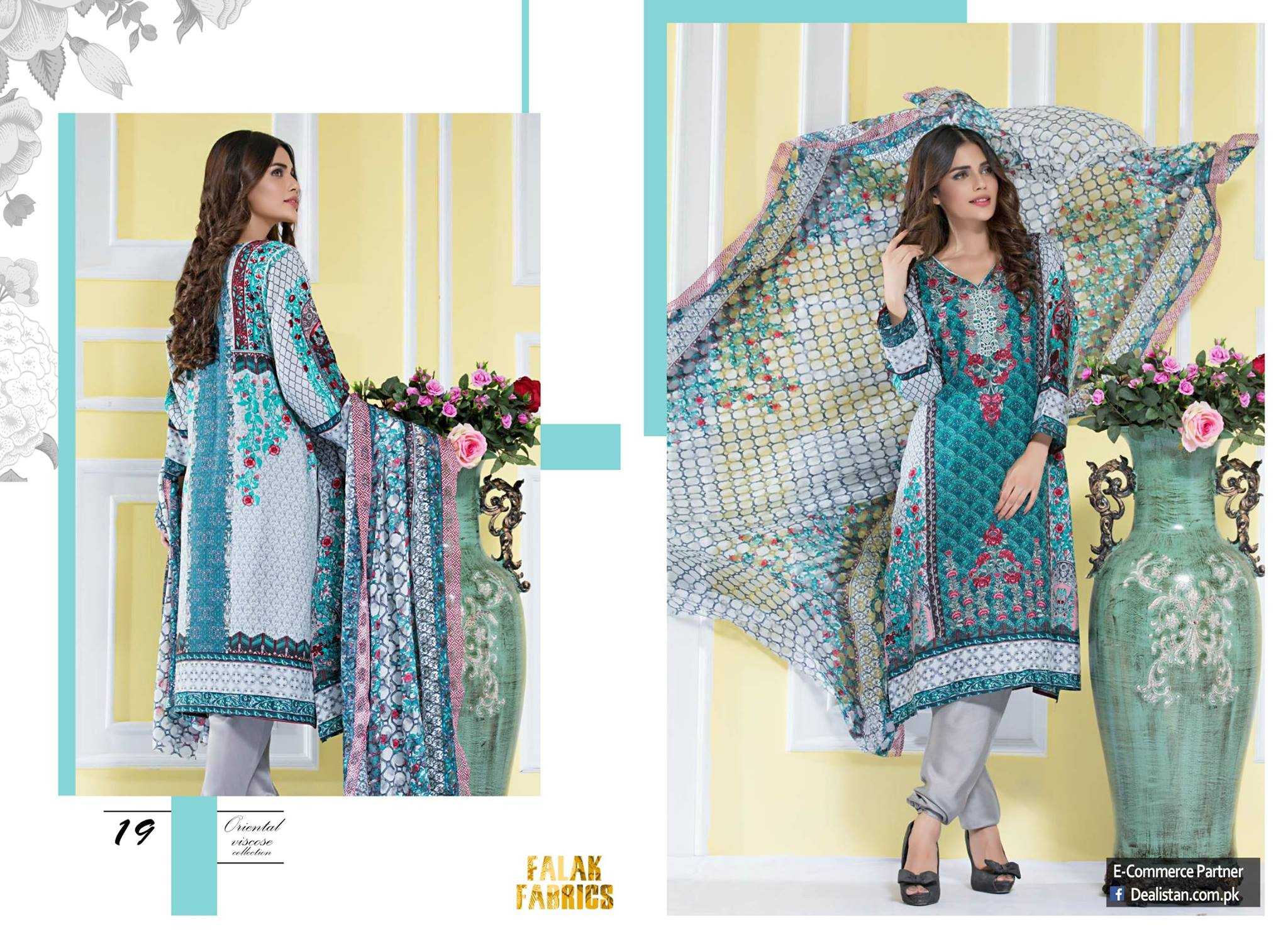 Falak Summer Emroidered Lawn Collection 2017